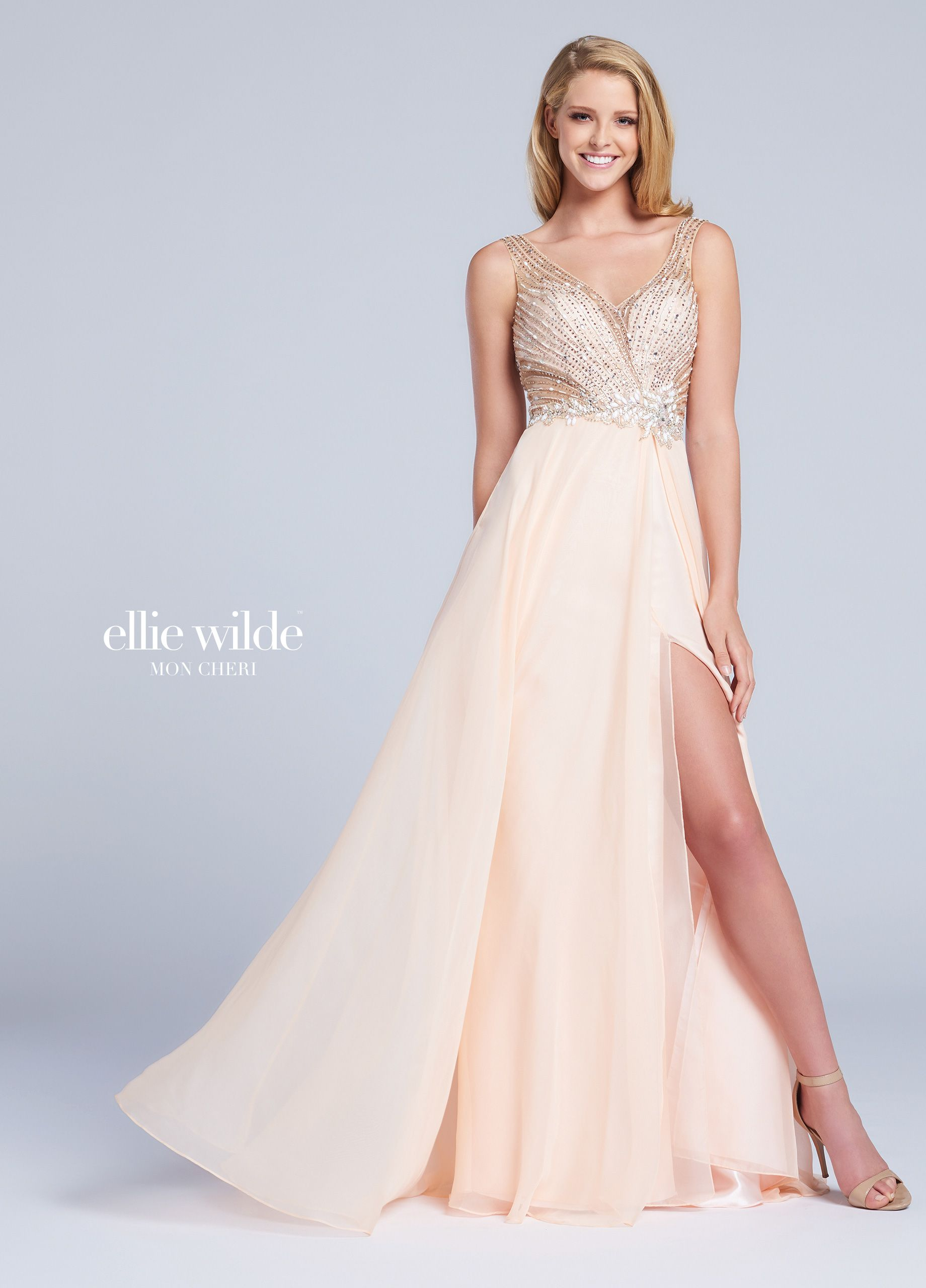 a80e8ea1d11c Ellie Wilde EW117015 - Sleeveless chiffon A-line gown with embellished deep  V-neckline bodice, keyhole back, full skirt with side slit.