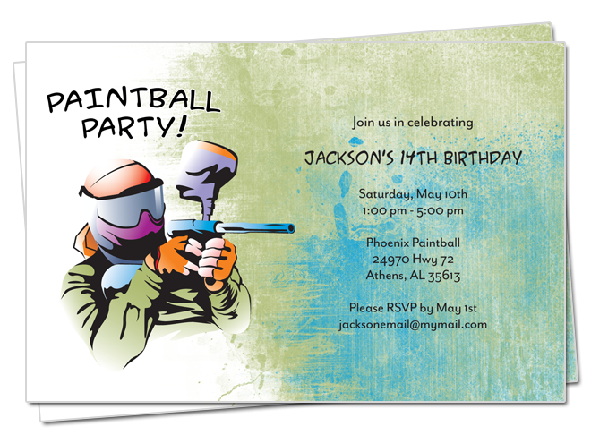 paintball party birthday invitation by rocketliv on etsy - Paintball Party Invitations