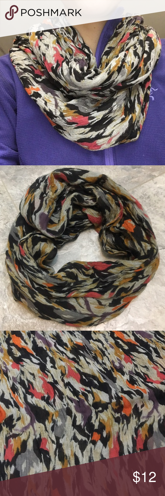 Infinity Scarf Beautiful printed infinity scarf. 100% viscose. Colors are black and gray with hints of purple, orange, and red. Goes with so many things! 🎀Bundle & Save! 3+ items=30% off!🎀 Accessories Scarves & Wraps