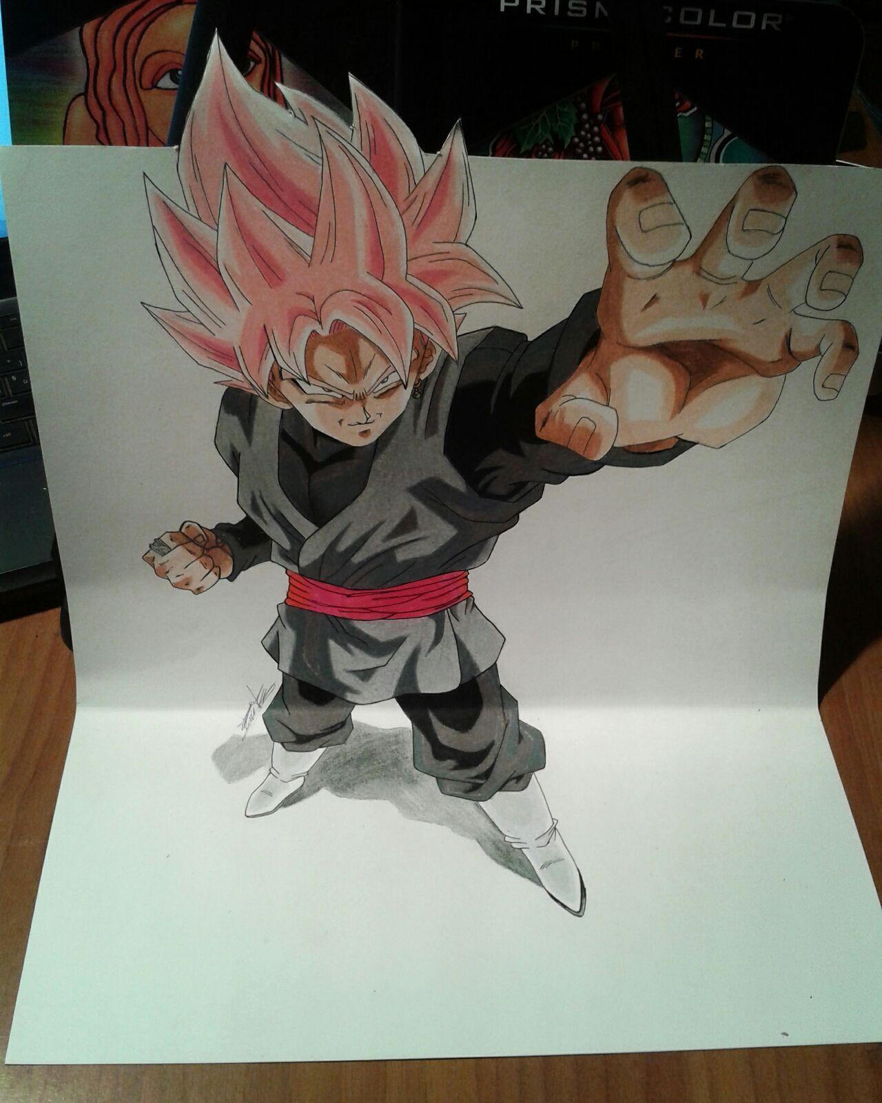 Prismacolor colored pencil drawing of black Goku SSj Rose 3D