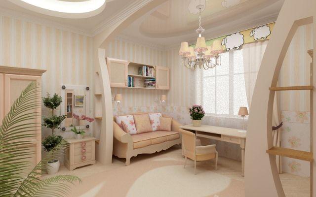 Trennwand Ideen Kinderzimmer Beige Weiss Farben Maedchen