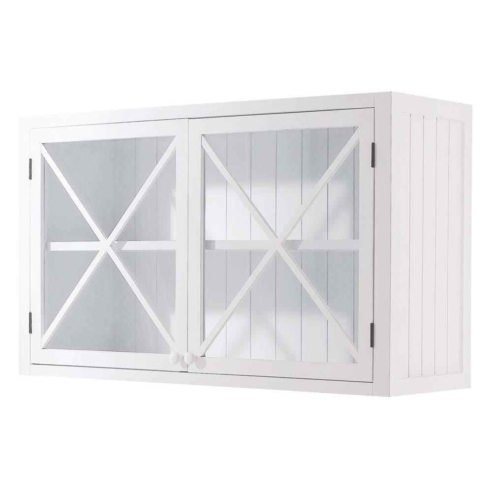 Meuble haut vitré de cuisine en pin blanc L11 Newport  Maisons