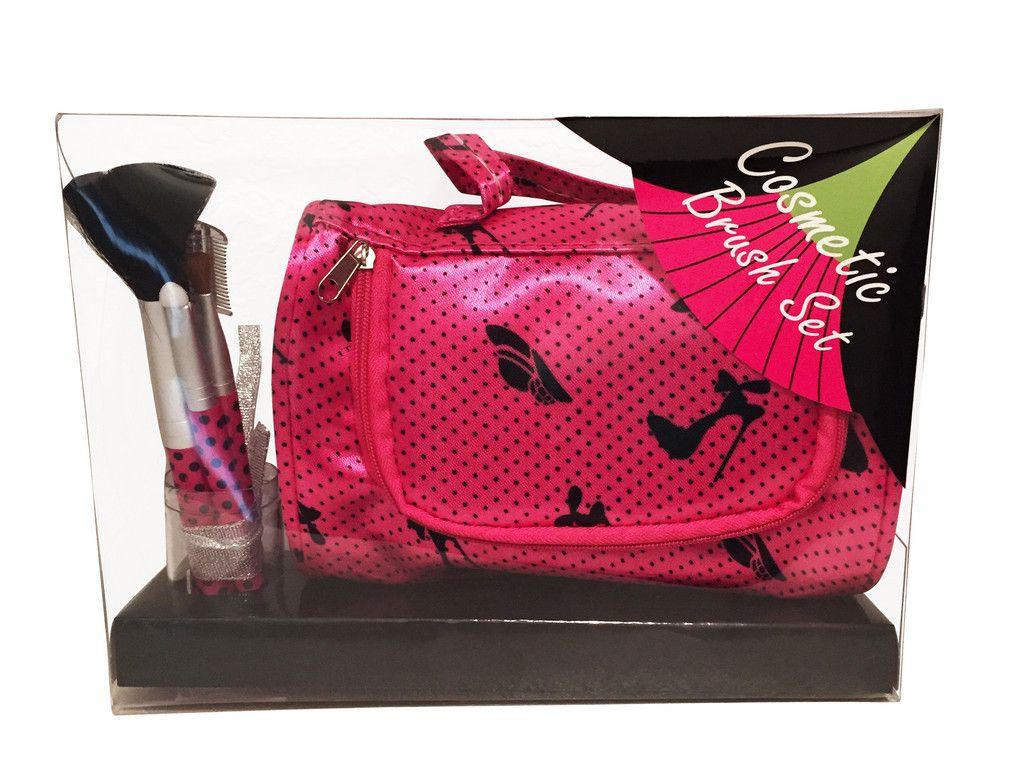 Cosmetic Brush Set, Travel Makeup Bag, Pinkvisit http