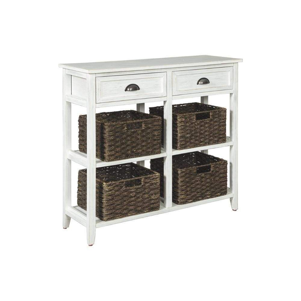 Wooden Console Sofa Table With Four Woven Storage Baskets White