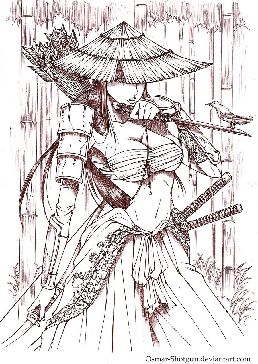 Anime Samurai Drawings | Samurai Girl by Osmar-Shotgun