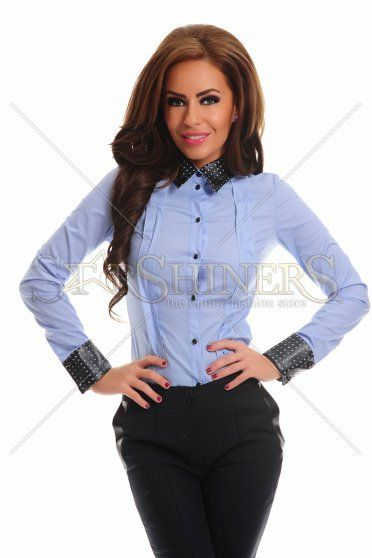 LaDonna Exclusive Collar Blue Shirt