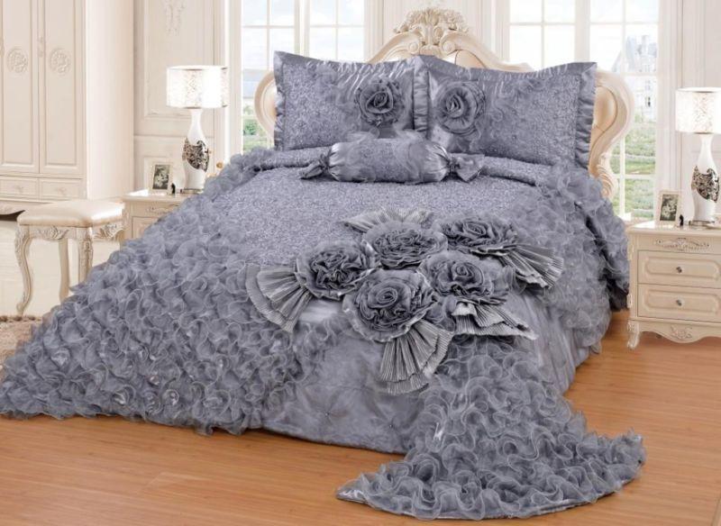 Tagesdecke Diamant grau 4TlgDiese Aufwändig bestickte Tagesdecke - gardinen für schlafzimmer