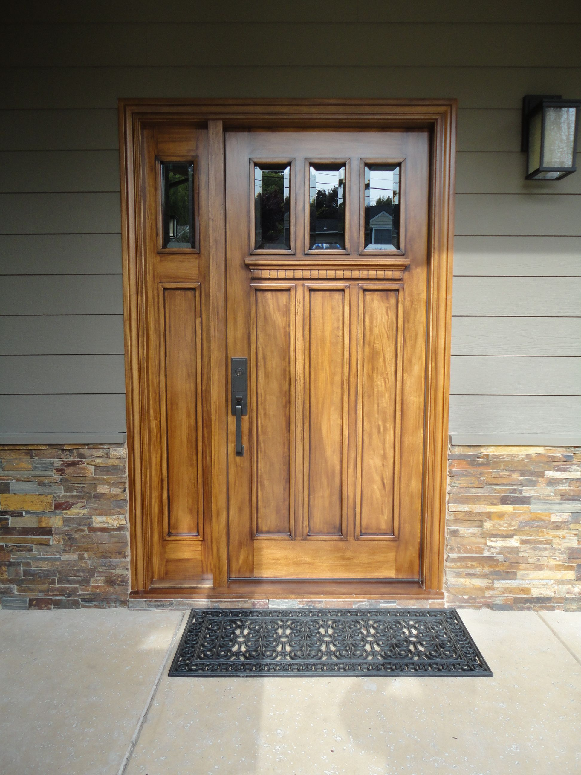 3 Light 3 Panel Craftsman Entry Door With One 1 Light 1 Panel Sidelight Front Door Design Entry Doors Entry Door With Sidelights