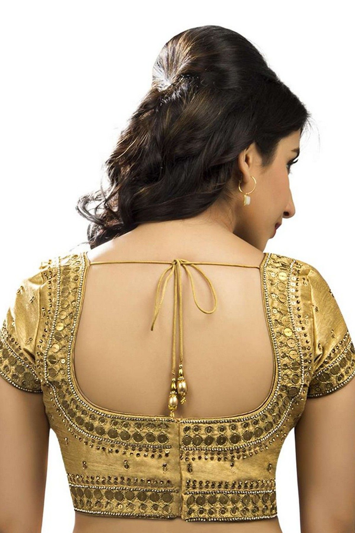 2a3a4011c18237 Gold raw silk #festive wear #blouse with back deep pot neck -BL561 ...