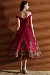 099d2de1fef eDressit Robe de Cocktail Cap Manche Vintage Brodée Rouge (04170917 ...