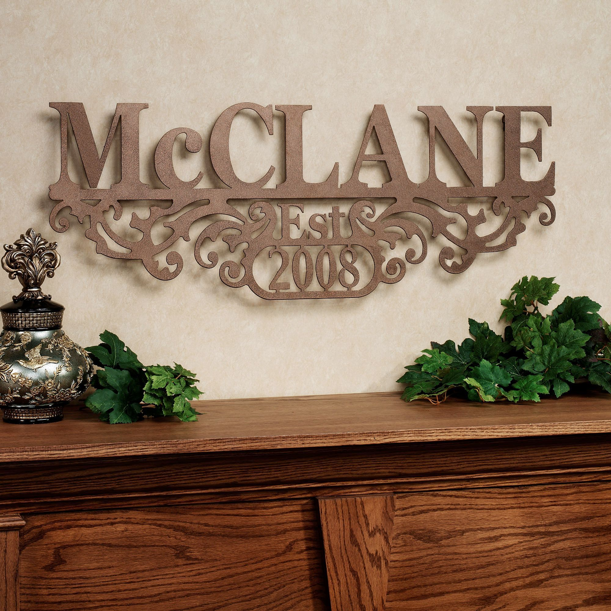 Kinship Bronze Family Name And Year Personalized Metal Wall Art Sign Metal Tree Wall Art Wall Art Sign Metal Wall Art