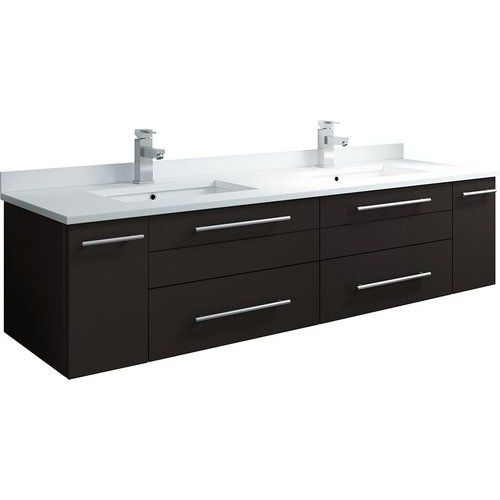 Fresca 60 Inch Lucera Double Sink Floating Vanity With Top And