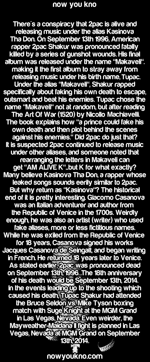 "Source for more follow NowYouKno! Kasinova Tha Don album (New 2pac material) found here. More about the possible connection between 2pac and Niccolo Machiavelli's ""The Art Of War"" here. More about Casanova's 18-year exile from Venice here."
