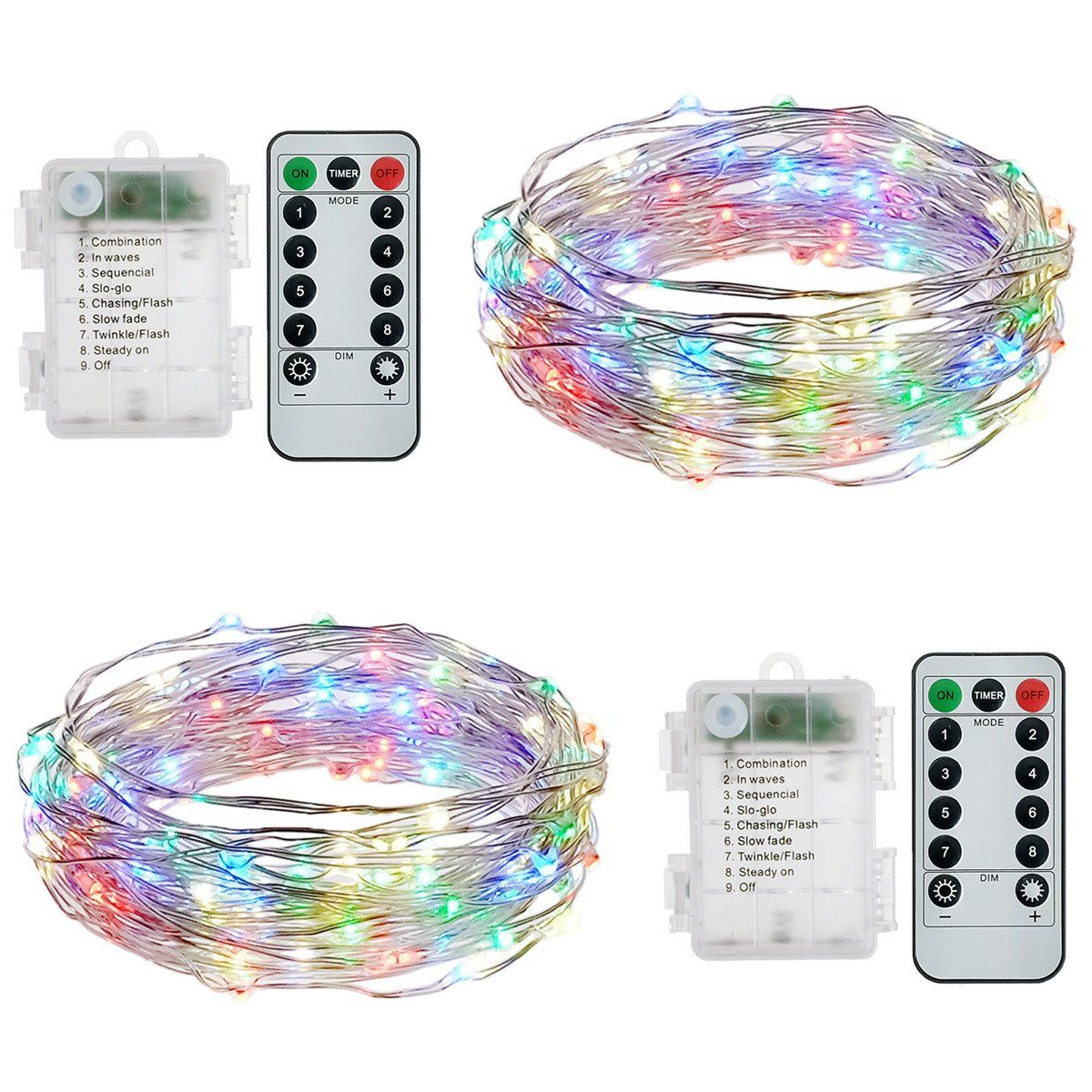 hsicily battery operated string lights waterproof 8 modes 50 led fairy lights remote control for wedding halloween christmas party bedroom indoor outdoor