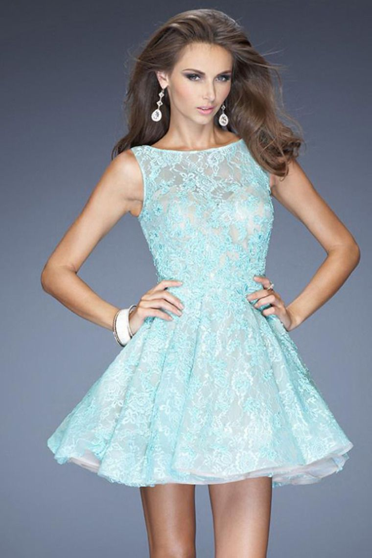 2014 Bateau Neckline Lace Homecoming Dress With Applique And Beads A ...