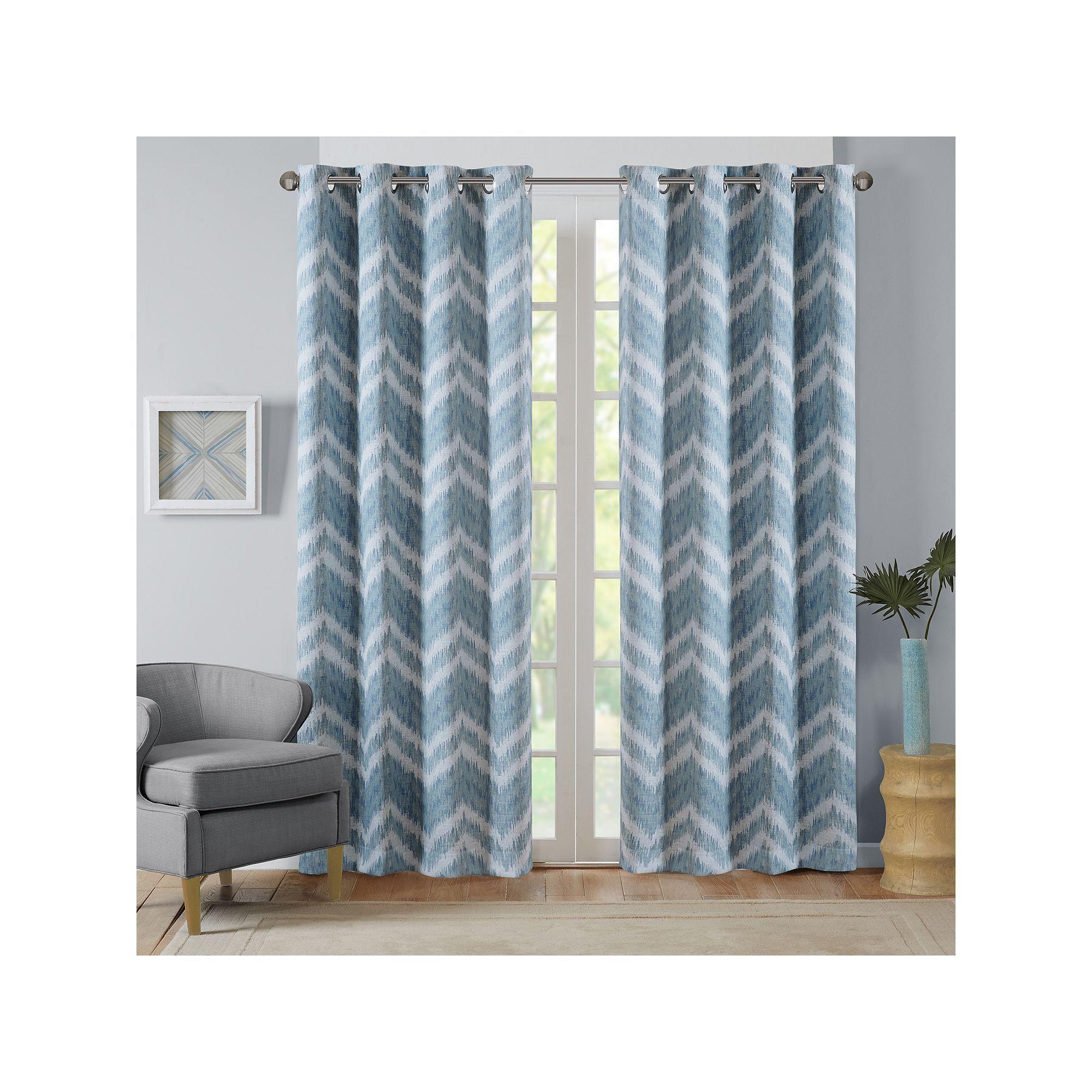 Intelligent Design Nara Chevron Printed Curtain Turquoise Blue Turq Aqua