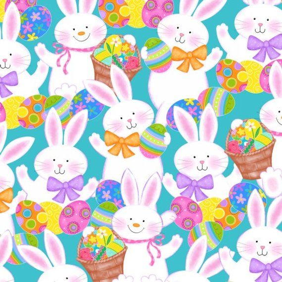 A joyful Easter Bunnies and Chicks on Blue 100/% cotton Fabric by the yard