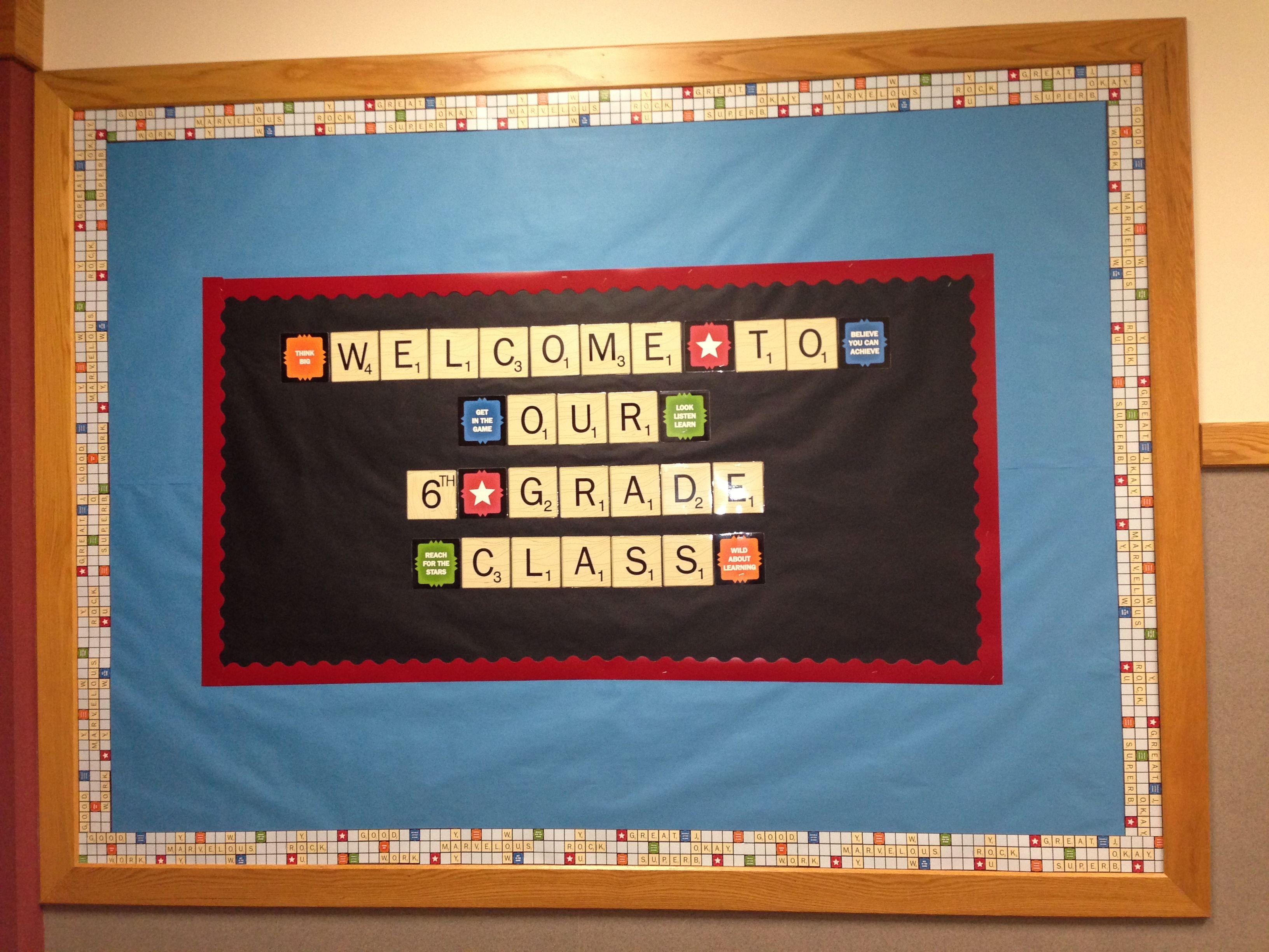 Scrabble Themed Back to School Bulletin board...very cute!