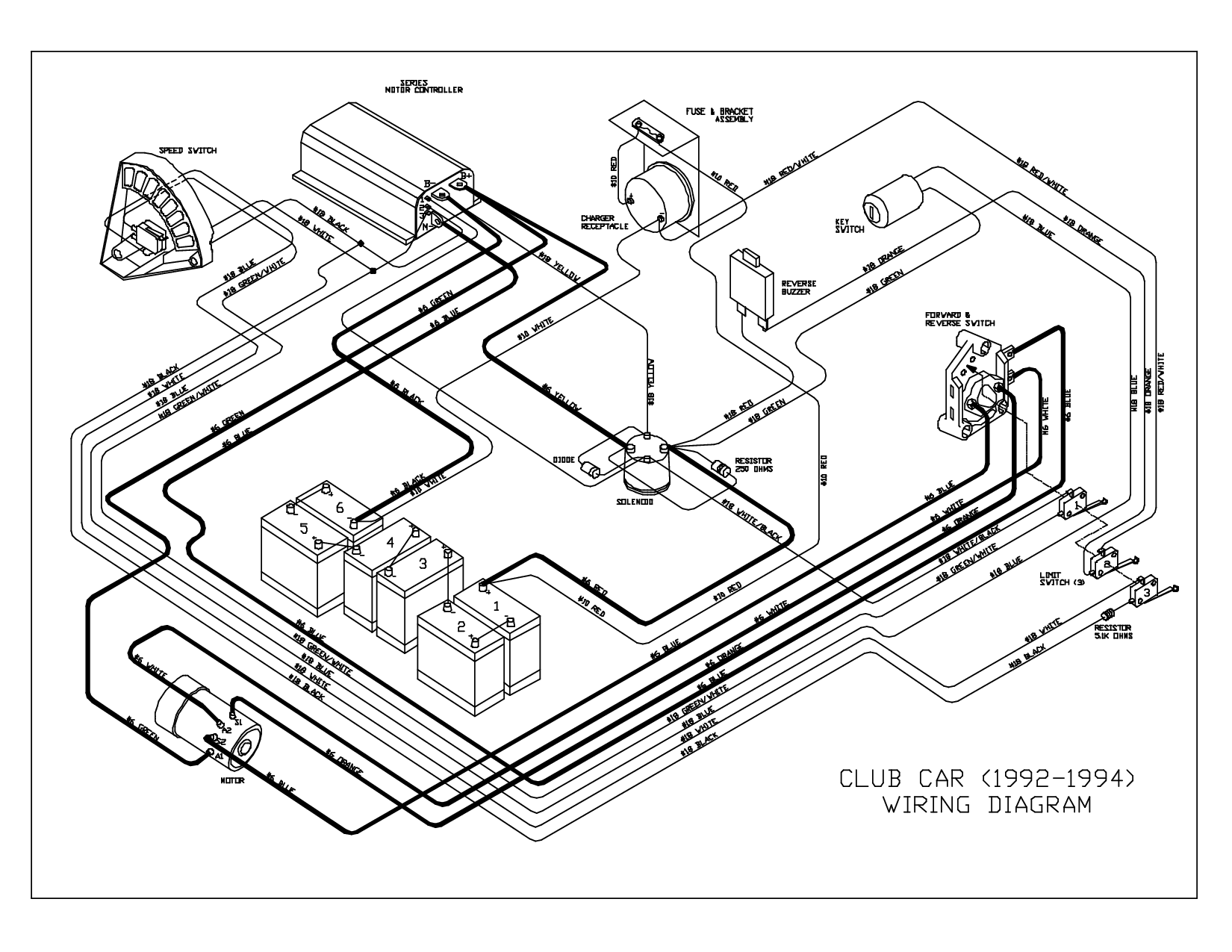 1995 club car wiring diagram | CLUB CAR (1992-1994) WIRING ... Yamaha G Electric Wiring Schematic on