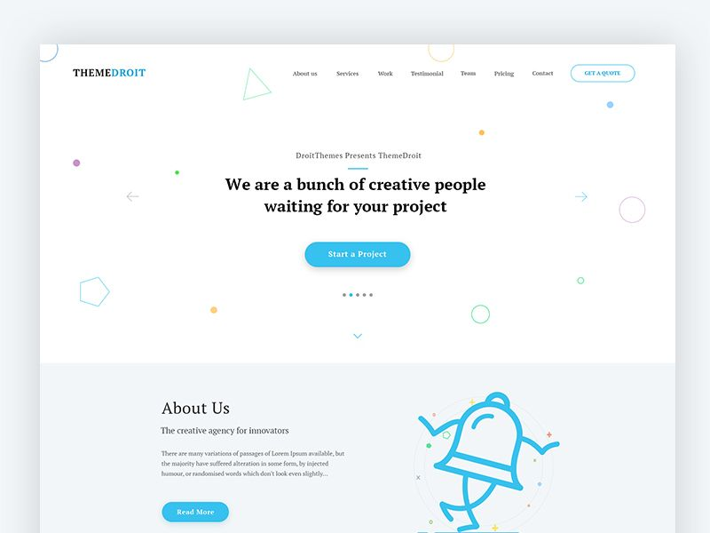 Themedroit Landing Page Template  Wip  Ui Ux Design Ux Design