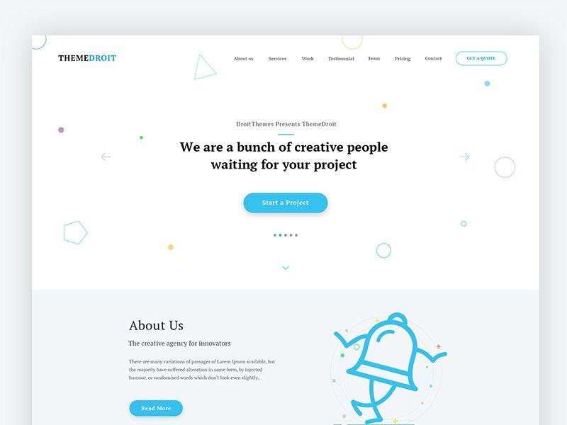 Themedroit Landing Page Template  Wip  Ui Ux Design Ux Design
