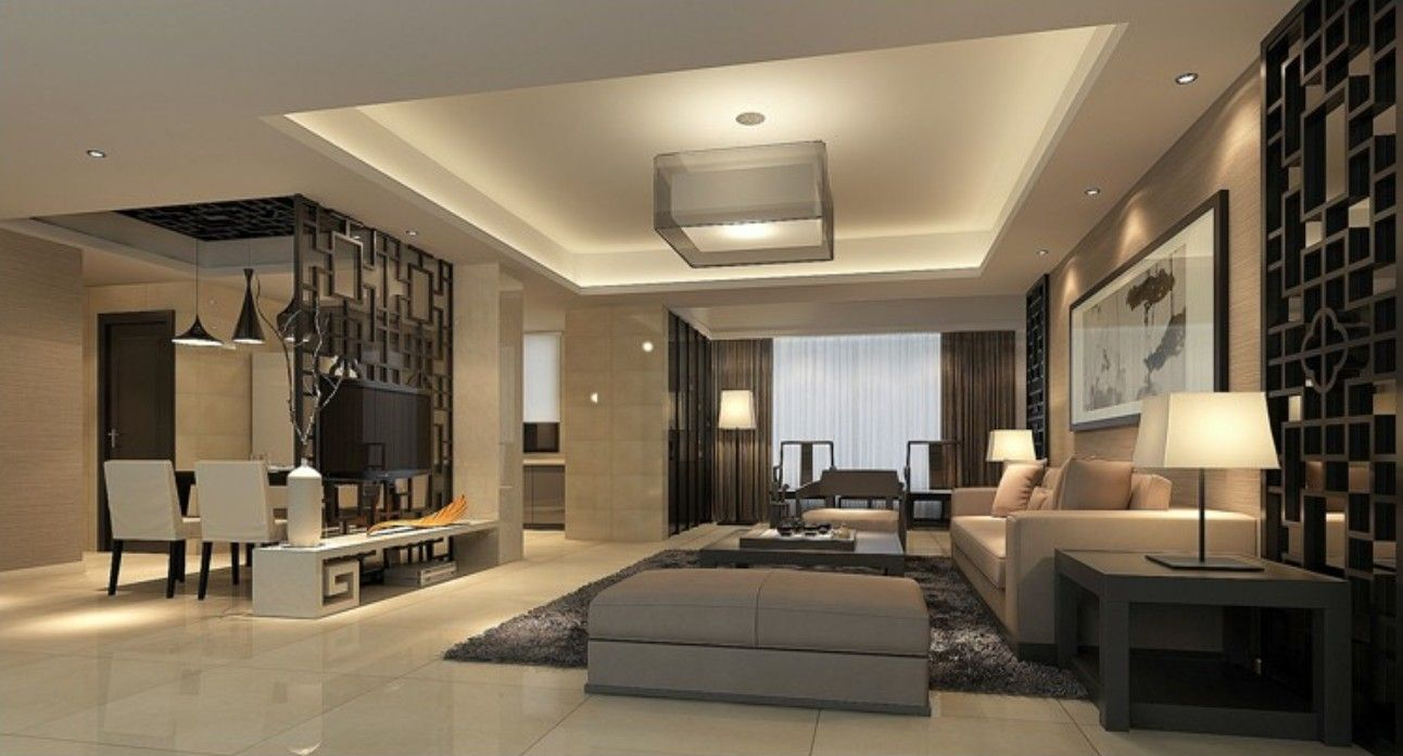 3d modern house living dining room partition china for Modern house living room