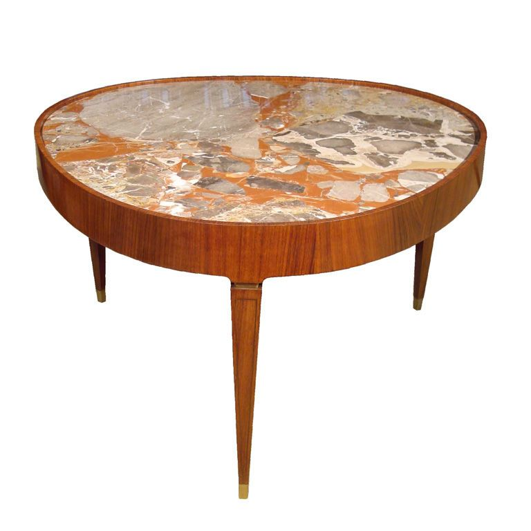 Paolo Buffa; Wood, Marble and Brass Coffee Table, 1940s.