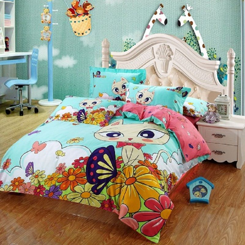 4/3 Pcs 100Cotton Kids Girls Cute Cat Cartoon Bedding set