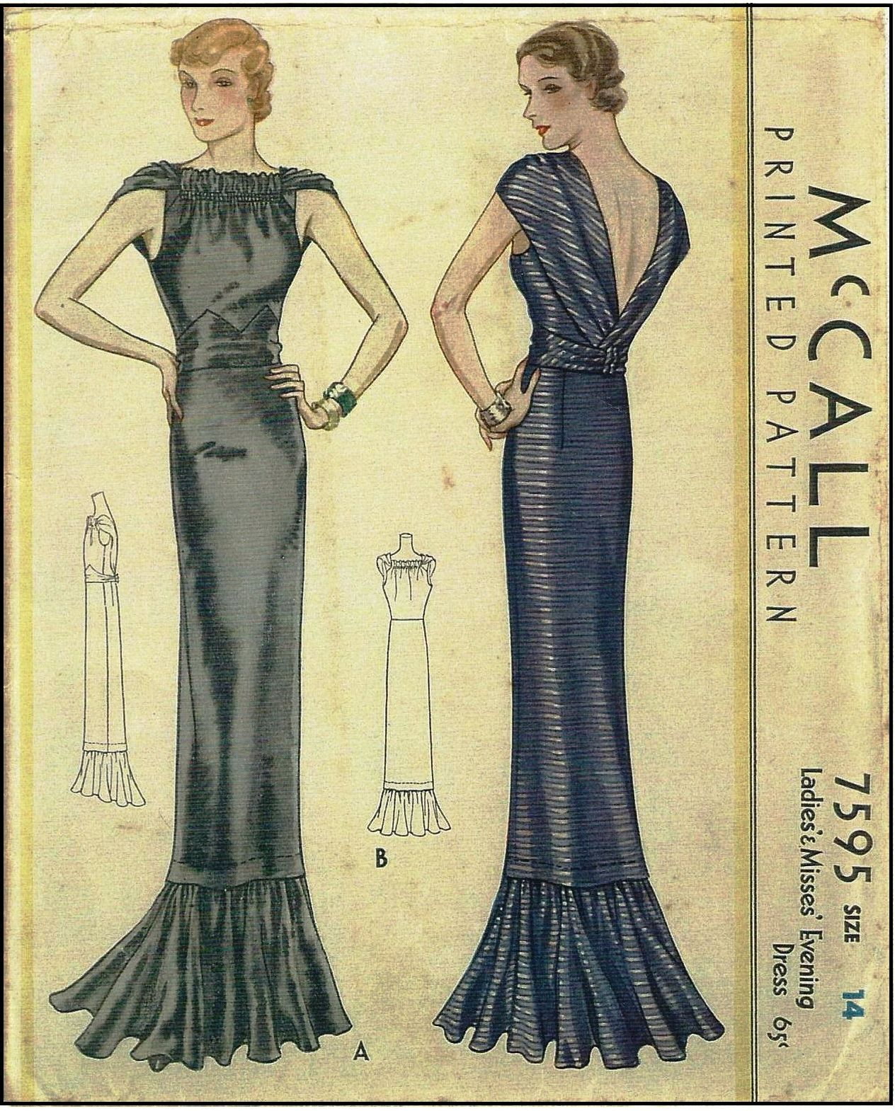 1930s Ladies Evening Gown With Gathered Neckline Etsy Vintage Dress Patterns Vintage Outfits Vintage Sewing Patterns [ 1570 x 1264 Pixel ]