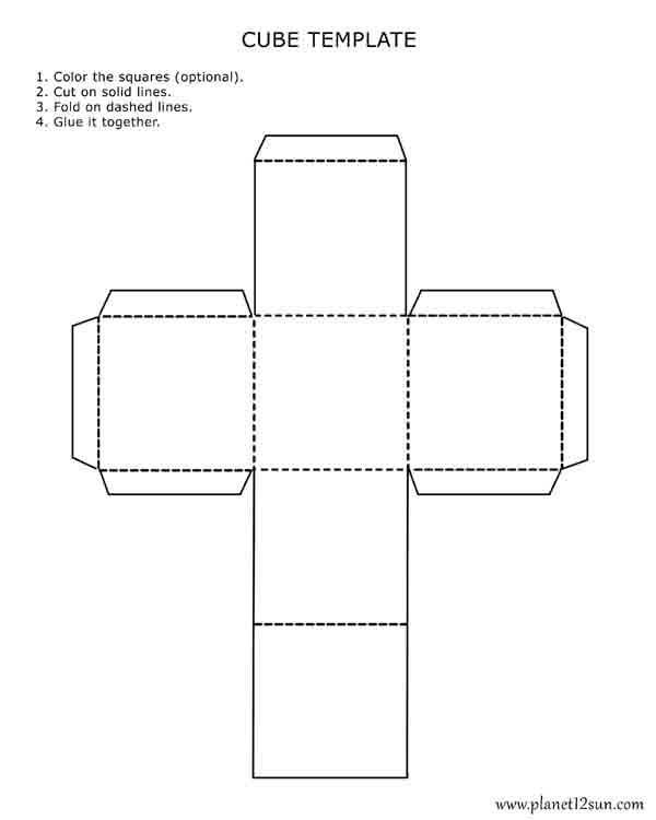Printable 3D Cube Template. Color It, Cut It Out, Fold It And Glue