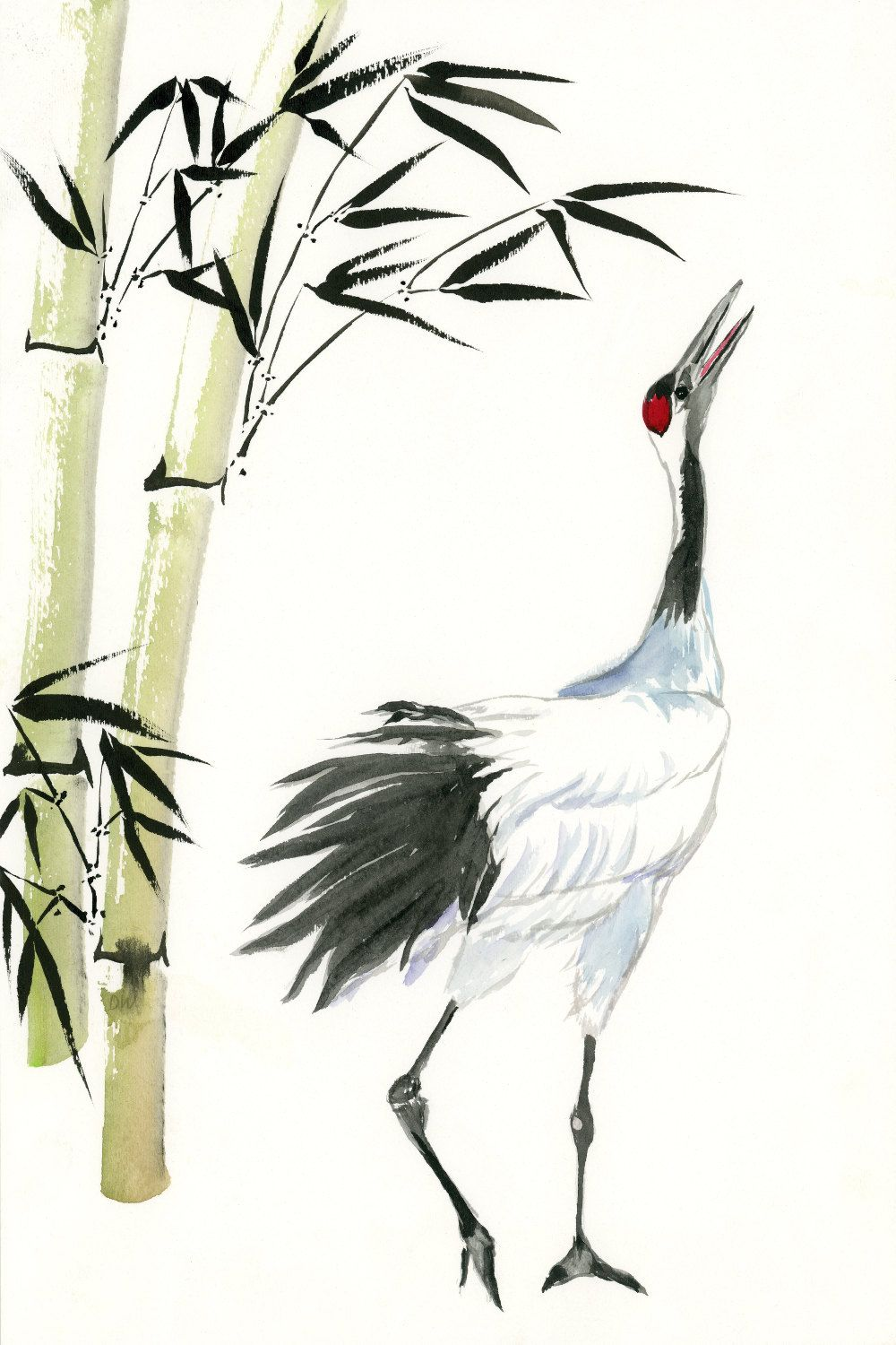 Fine Art Print Japanese Crane And Bamboo Watercolor Painting On