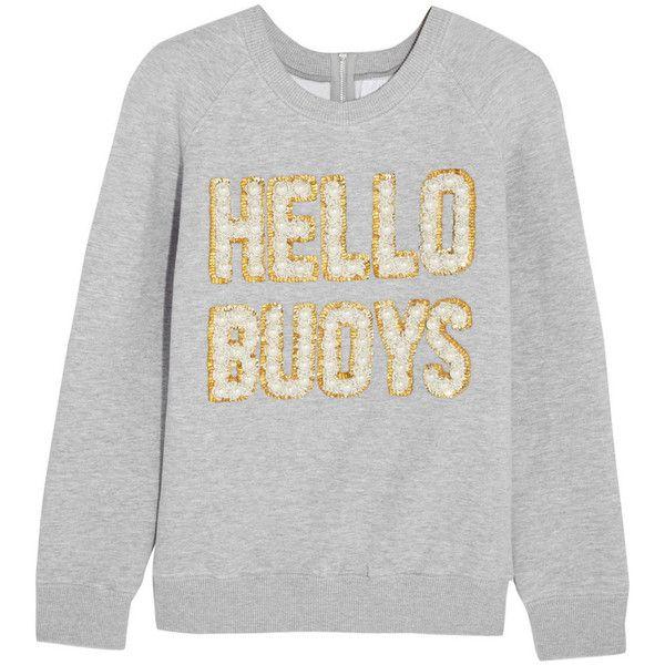 Ashish Hello Buoys Embellished Sweatshirt (1.380 BRL) ❤ liked on Polyvore featuring tops, hoodies, sweatshirts, sweaters, ashish, embellished sweatshirt, embellished top, decorated sweatshirts and embroidered sweatshirts