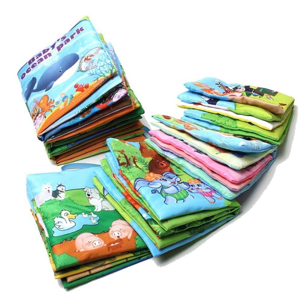원피스 소매 아기 장난감 유아 아이 조기 개발 헝겊 책 다채로운 교육 전개 활동 책