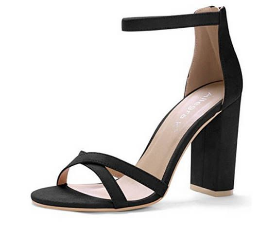 9440d720bb65e5 Allegra K Women s Open Toe Cross Front Ankle Strap Block Heeled Sandals
