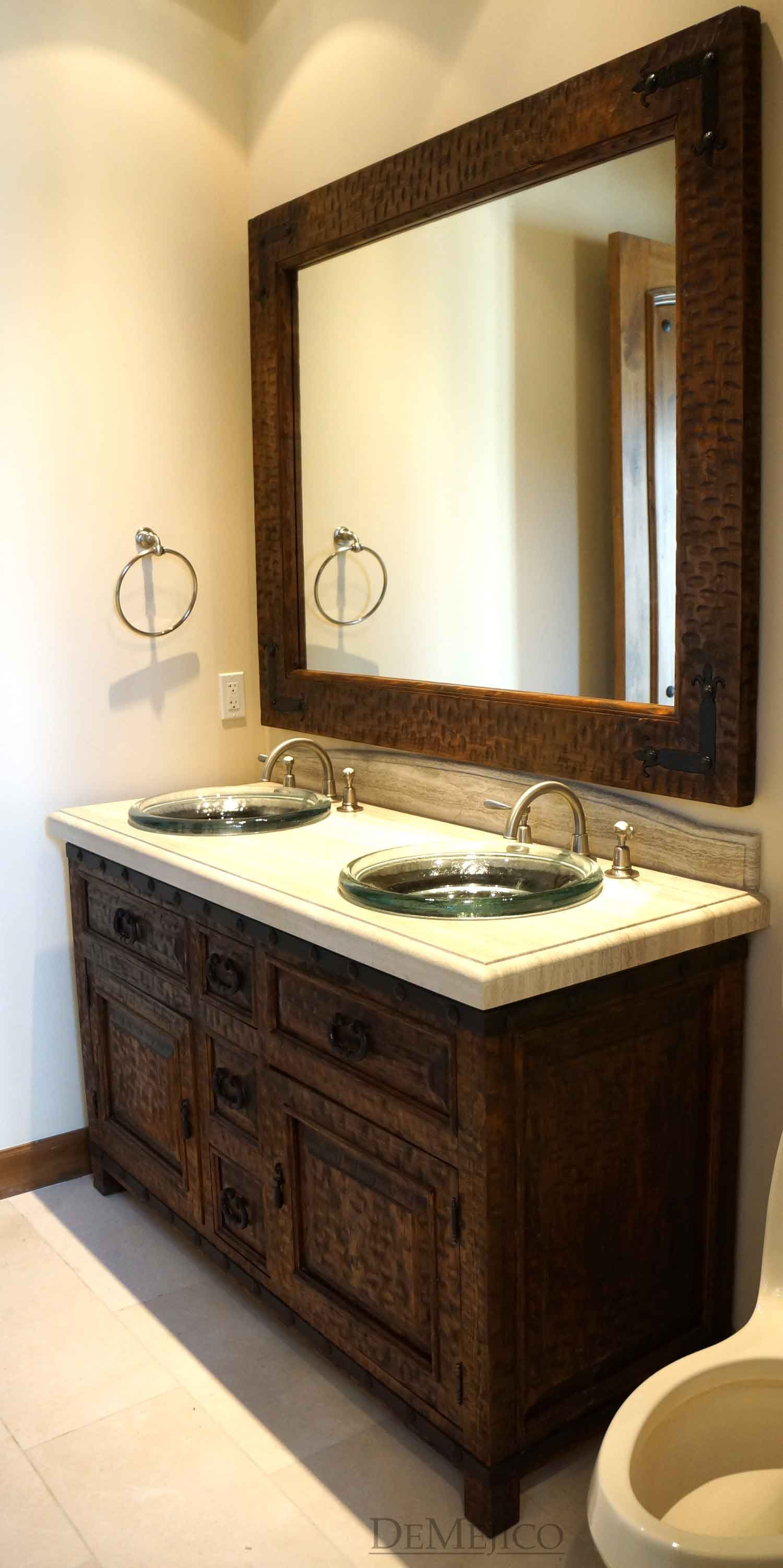 Alamo Style Bathroom Vanity And Mirror Hand Carved From Alder Wood With A Smooth
