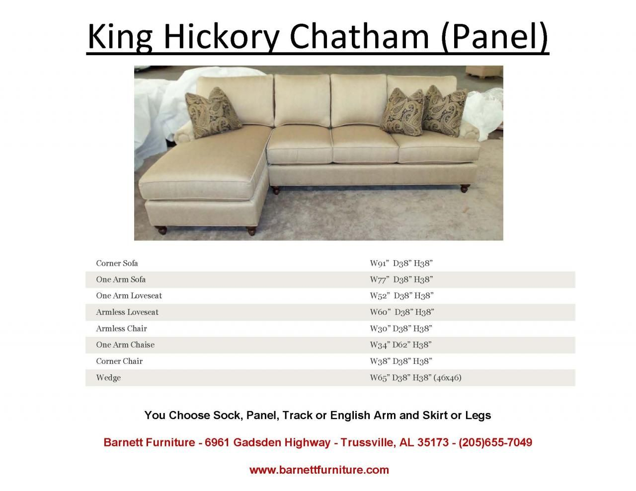 Peachy King Hickory Chatham Sectional With A Panel Arm And A Turned Machost Co Dining Chair Design Ideas Machostcouk
