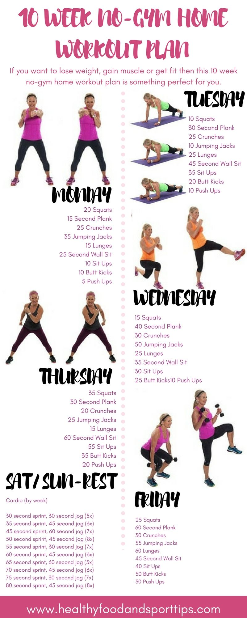 10 Week No Gym Home Workout Plan At Home Workout Plan At Home Workouts Workout Plan