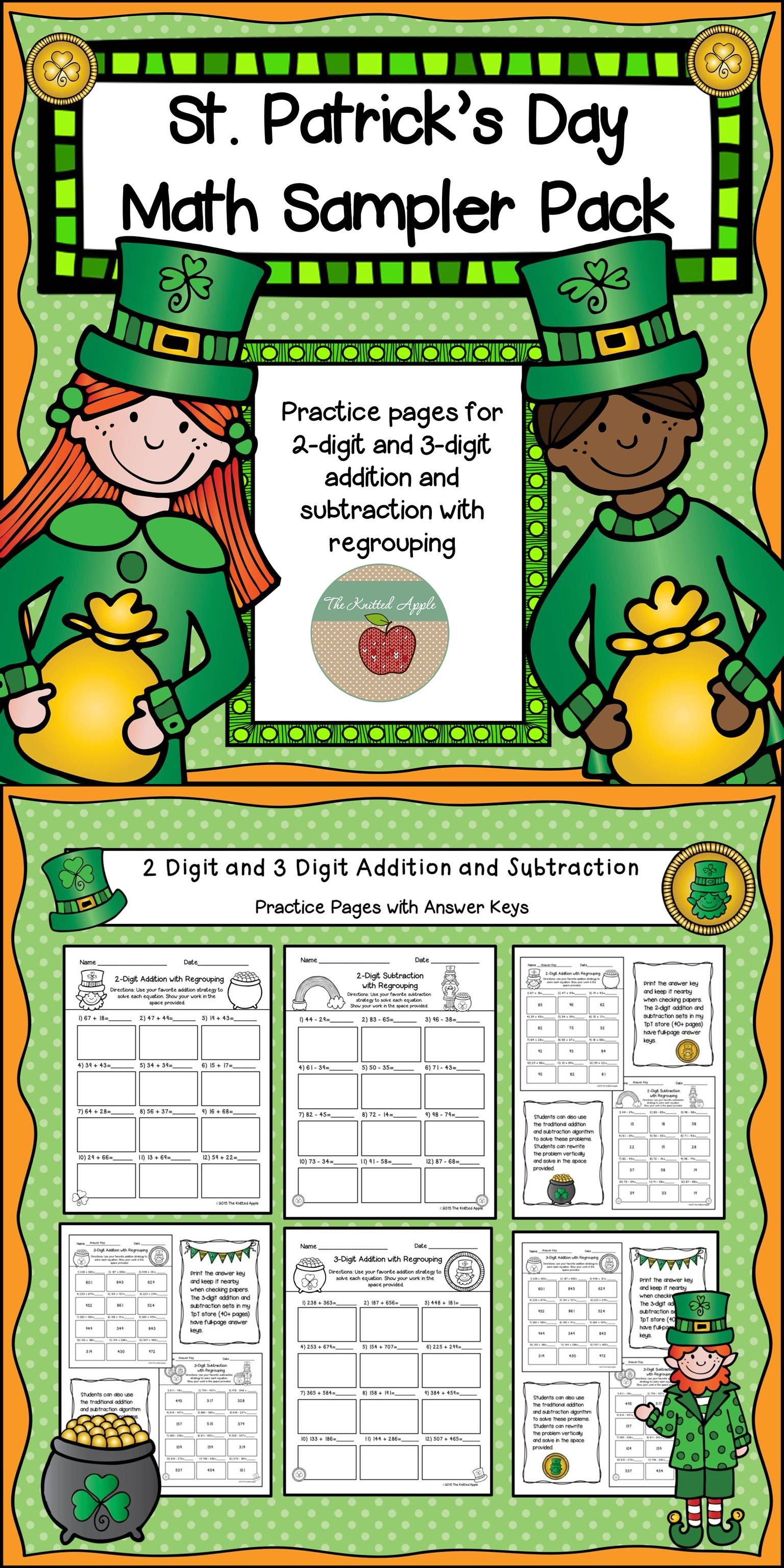 FREEBIE Addition and Subtraction with regrouping pages- 2 digit and ...