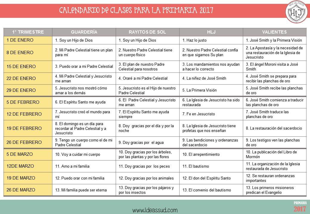 CALENDARIO DE CLASES PARA LA PRIMARIA 2017 Por Ideas SUD Primaria - fresh tabla periodica unam