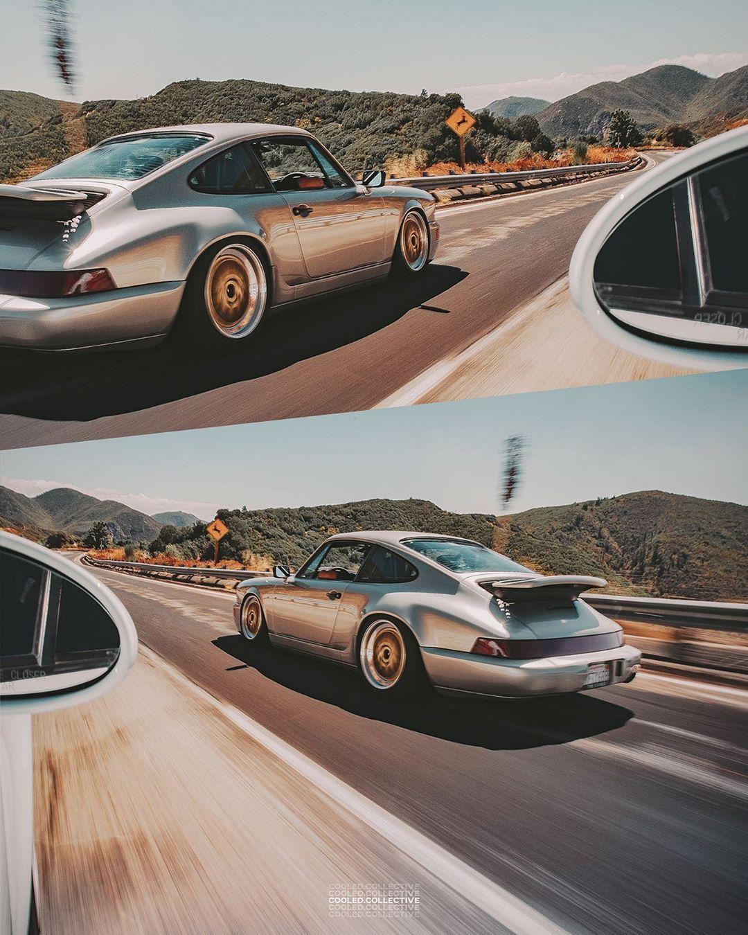 Porsche Linen Gray 964 On Gold Bbs E26 Wheels For Cooledcollective Porsche Cruise Classic