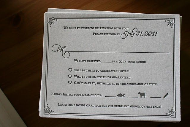 response card meal choice - so cute! | Wedding ...