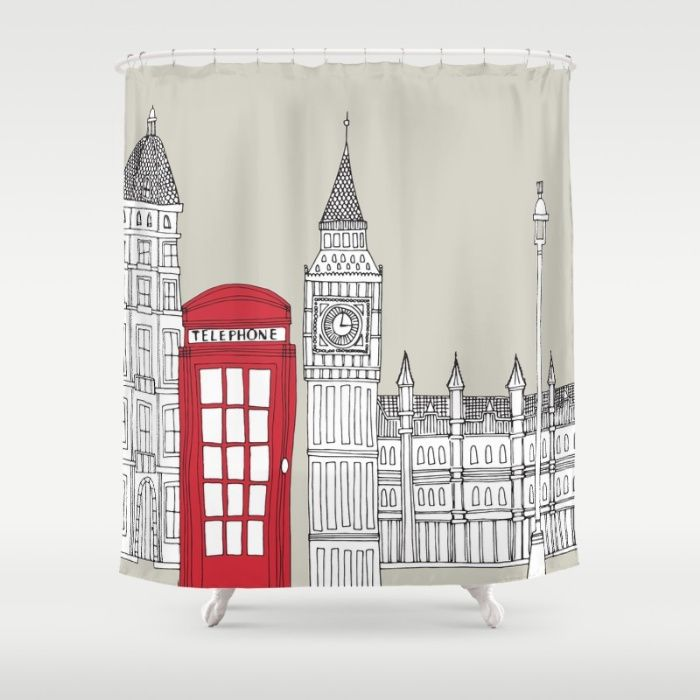 London Red Telephone Box Shower Curtain By Bluebutton Studio