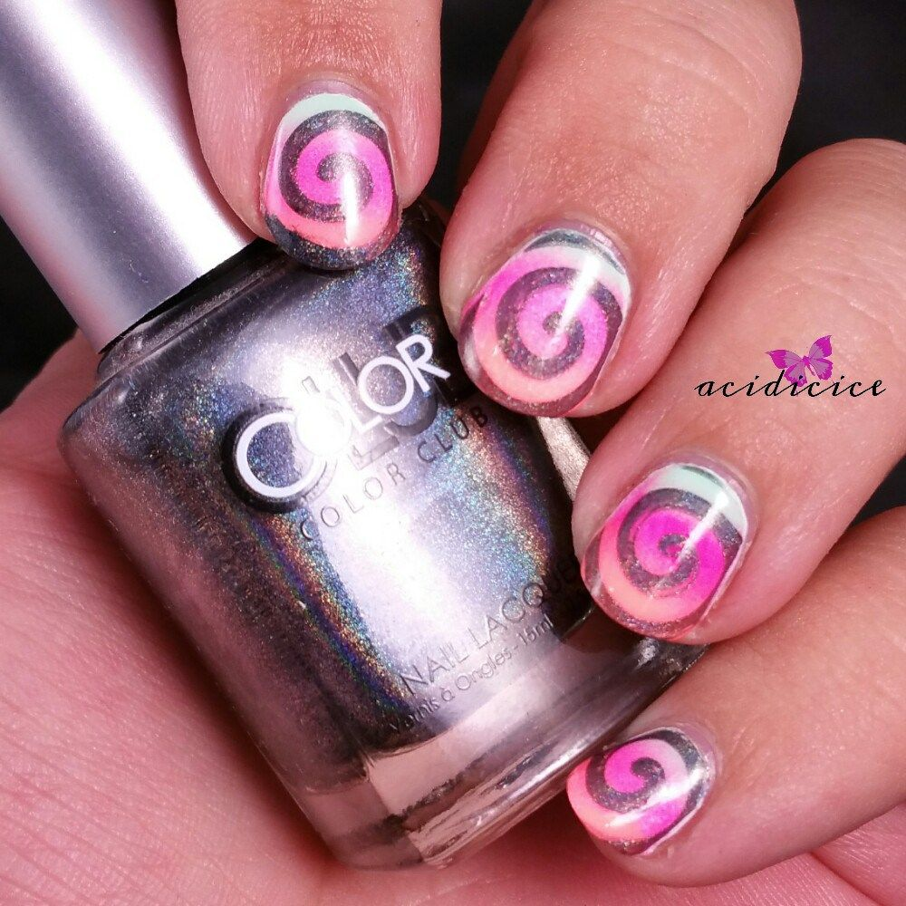 Neon Gradient With Holo Stamping Nail Art Community Pins
