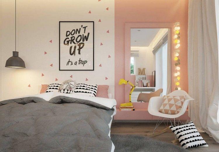 Jugendzimmer für Mädchen grau-rosa-wandspiegel-wandbild-spruch