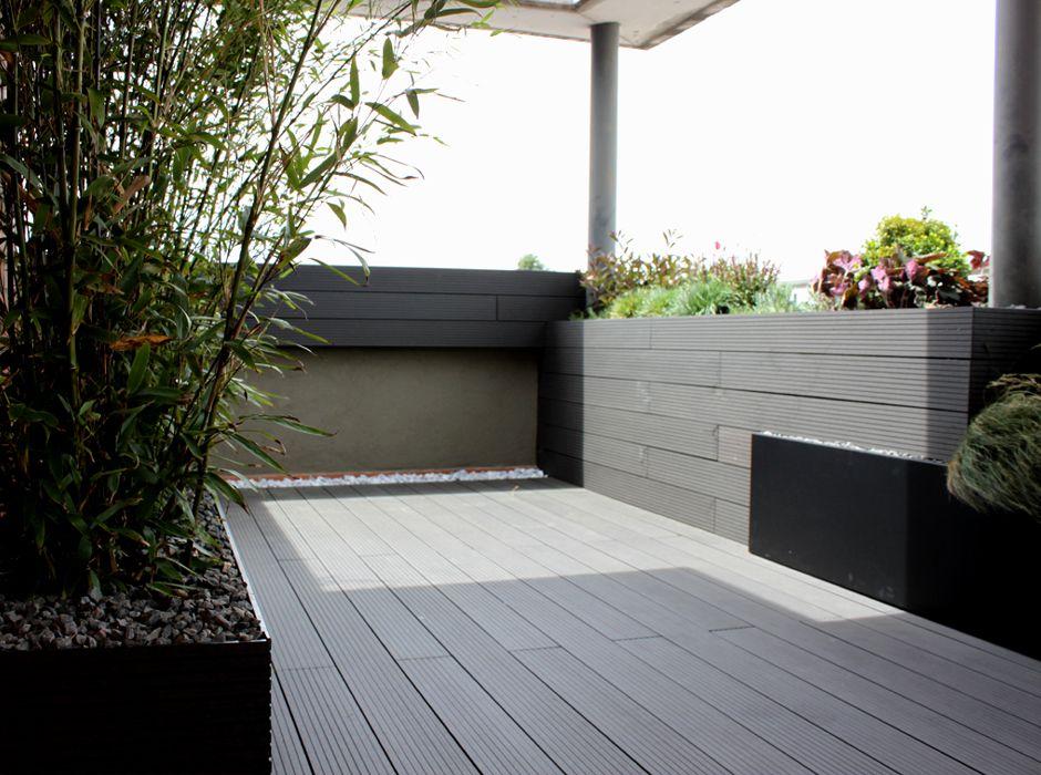 Madera tipo composite en color gris para exterior en for Ideas suelo terraza