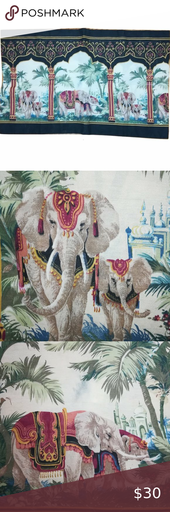 Elephants of India Huge Oversized Pillow Sham Made in India 40.25 inches Long