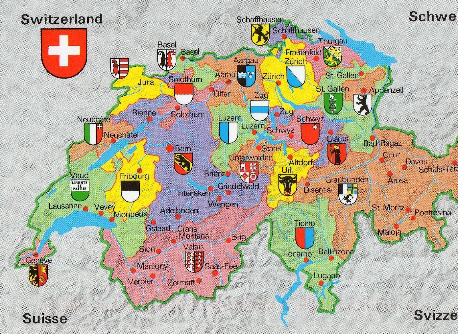 Map of Switzerland and Switzerland Details Maps Resolution 1800 x