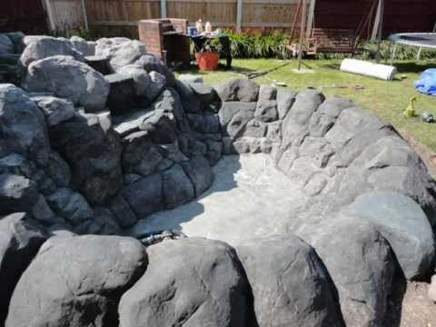 Pond waterfall from sand and cement hypertufa and faux for Concrete fish pond construction and design