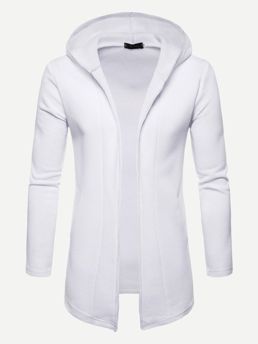 09006dc07a9 Men Solid Hooded Coat (White) Hooded Cardigan