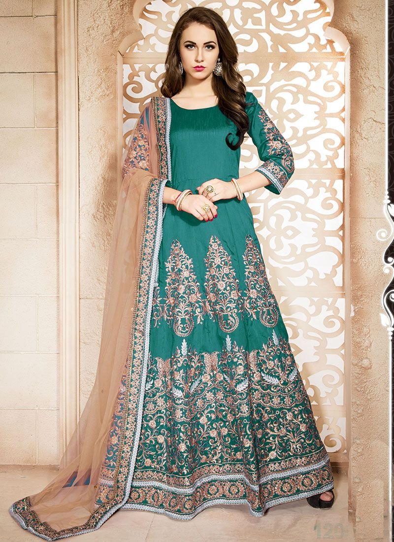 Green Banglori Silk Wedding Wear Embroidered Work Anarkali Suit ...